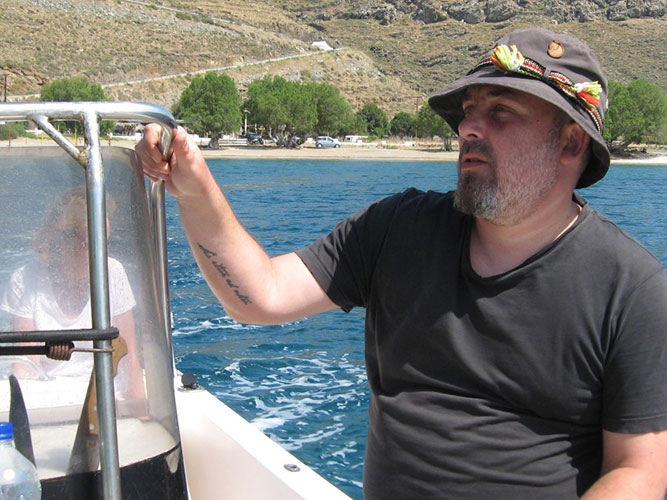 Our naturalist David Koutsogiannopoulos monitoring sea birds