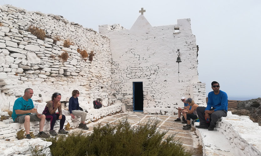Walkers pause at the church in the Byzantine castle