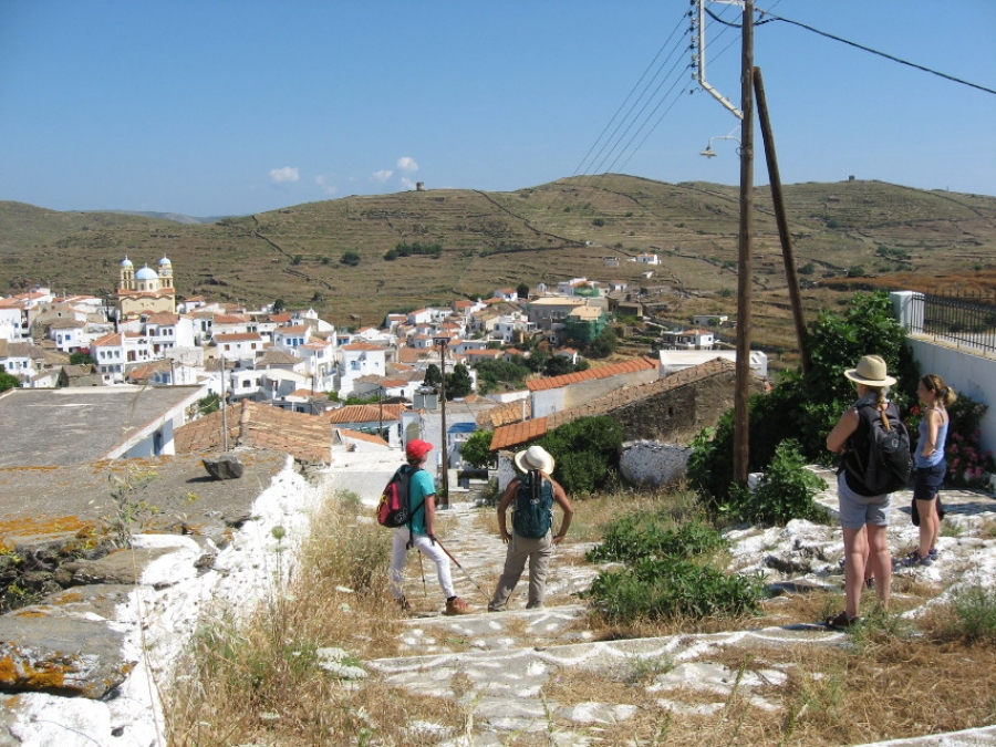 Dryopida: walkers on Vlassis steps out of village